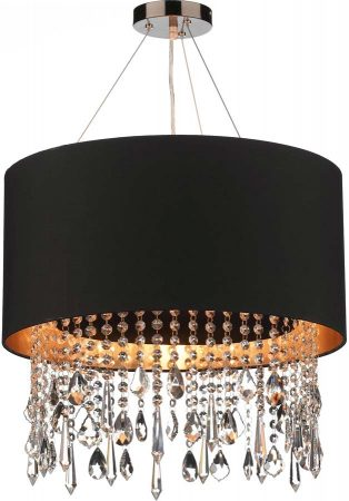 Dar Lizard Gold Lined Drum Crystal Pendant Light Colour Choice