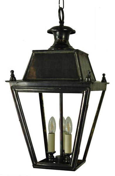 Balmoral Large Solid Brass 3 Light Victorian Hanging Porch