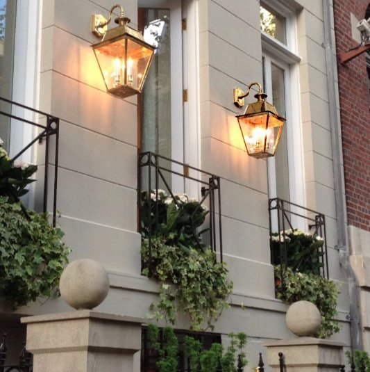 Balmoral Large Brass 3 Light Victorian Downward Outdoor