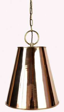 Java Copper Pendant Lantern With Brass Detail