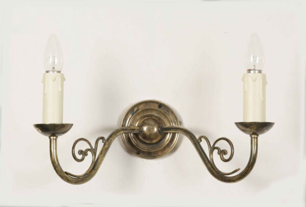 Light Antique Solid Brass Vintage Cottage Twin Wall Light
