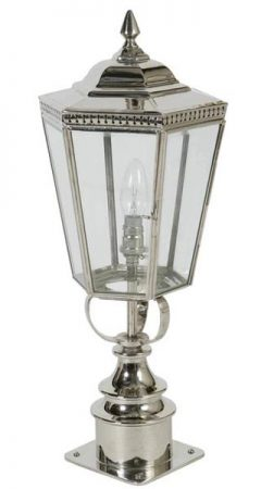 Chelsea Georgian Period Outdoor Short Post Lantern polished Nickel