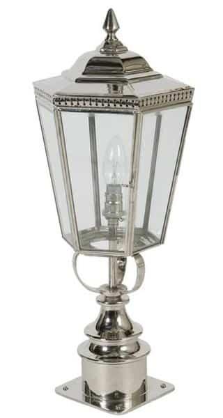 Chelsea Georgian Period Outdoor Short Post Lantern Polished Nickel Universa