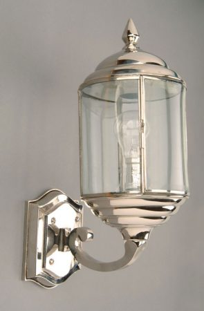 Wentworth Art Deco Style Polished Nickel Outdoor Wall Light