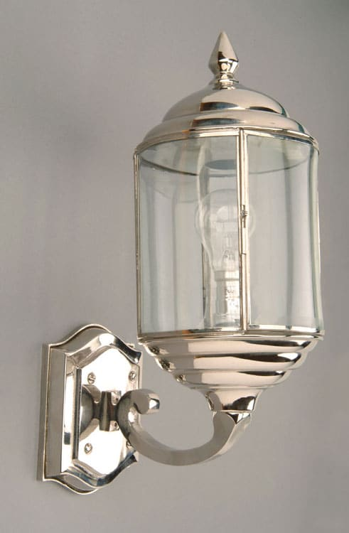 Period Outside Wall Lights : Wentworth Art Deco Style Polished Nickel Outdoor Wall Light N471