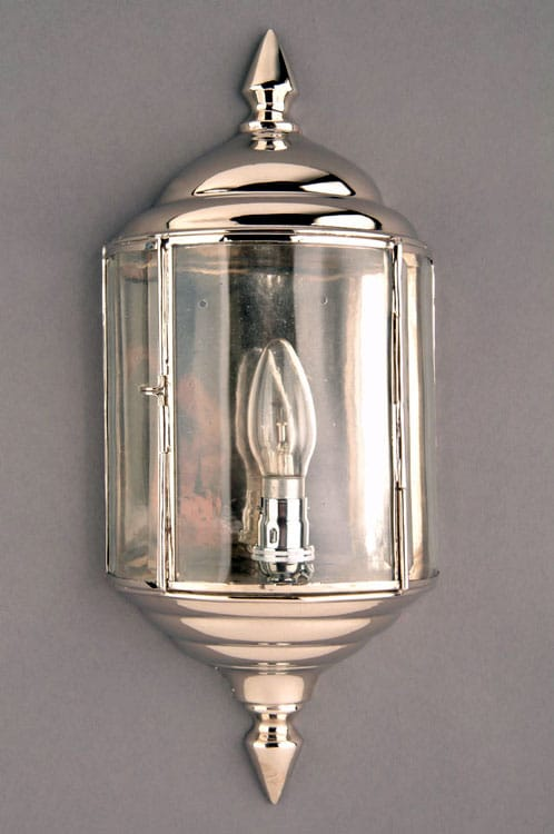 Wentworth Art Deco Style Polished Nickel Outdoor Wall Lantern N473