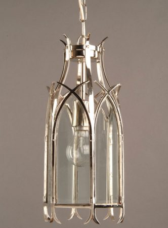 Small Nickel Plated Solid Brass Swallow Tail Gothic Hanging Lantern