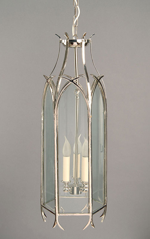 Very Large Nickel Plated Solid Brass Swallow Tail Gothic Hanging Lantern