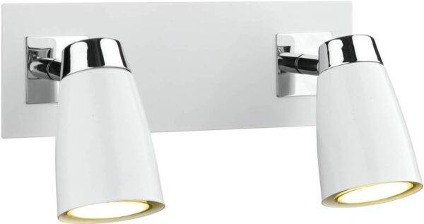 Dar Loft White Switched 2 Light Low Energy Wall Spotlight