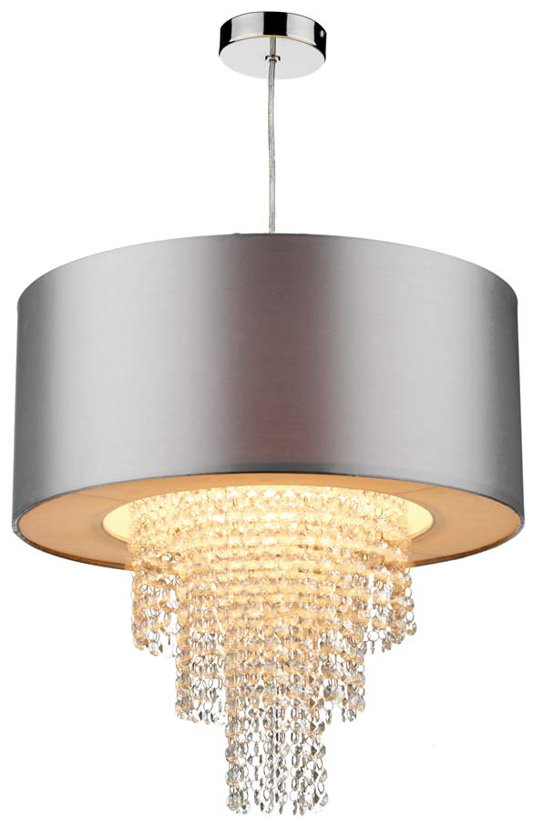 Dar lopez silver ceiling pendant lamp shade with drops lop6532 dar lopez silver ceiling pendant lamp shade with drops mozeypictures Image collections