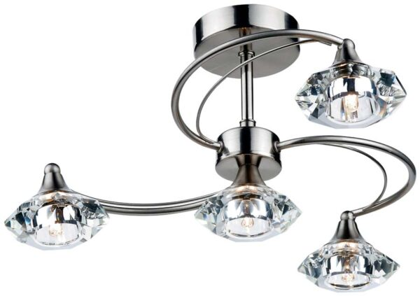 Dar Luther 4 Lamp Semi Flush Crystal Light Satin Chrome