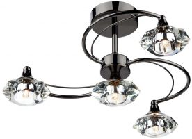 Dar Luther 4 Lamp Semi Flush Crystal Light Black Chrome
