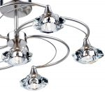 Dar Luther 6 Light Semi Flush Crystal Light Satin Chrome