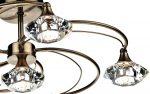 Dar Luther 6 Light Semi Flush Crystal Light Antique Brass