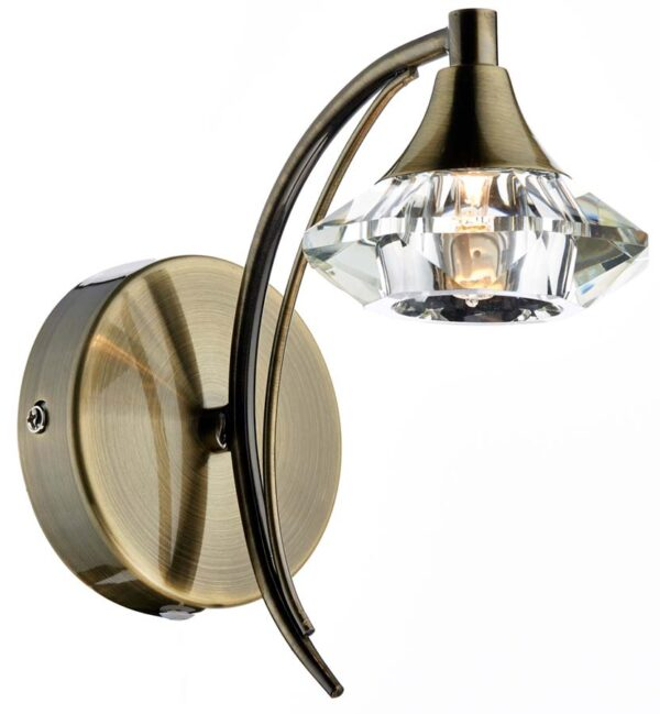 Dar Luther Single Switched Crystal Shade Wall Light Brass