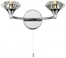 Dar Luther Switched Twin Wall Light Polished Chrome And Crystal