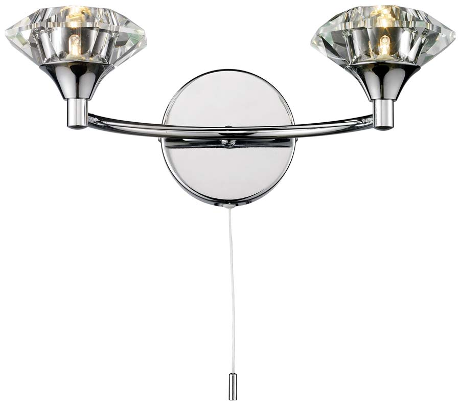 Dar Luther Switched Twin Wall Light Polished Chrome And Crystal LUT0950