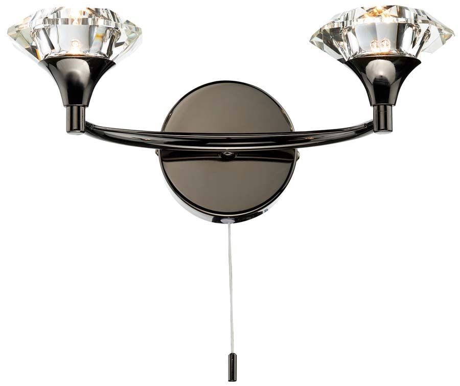 Dar Luther 2 Lamp Switched Crystal Shade Wall Light Black Chrome LUT0967