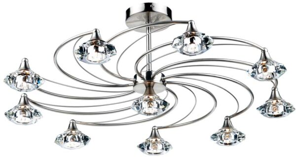 Dar Luther Modern 10 Light Semi Flush Spiral Fitting Satin Chrome
