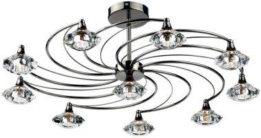 Dar Luther Modern 10 Light Semi Flush Spiral Fitting Black Chrome