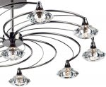 Dar Luther Modern 10 Light Semi Flush Spiral Fitting Black Chrome