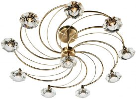 Dar Luther 10 Light Semi Flush Spiral Fitting Antique Brass