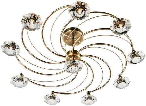 Dar Luther 10 Light Semi Flush Spiral Fitting Antique Brass