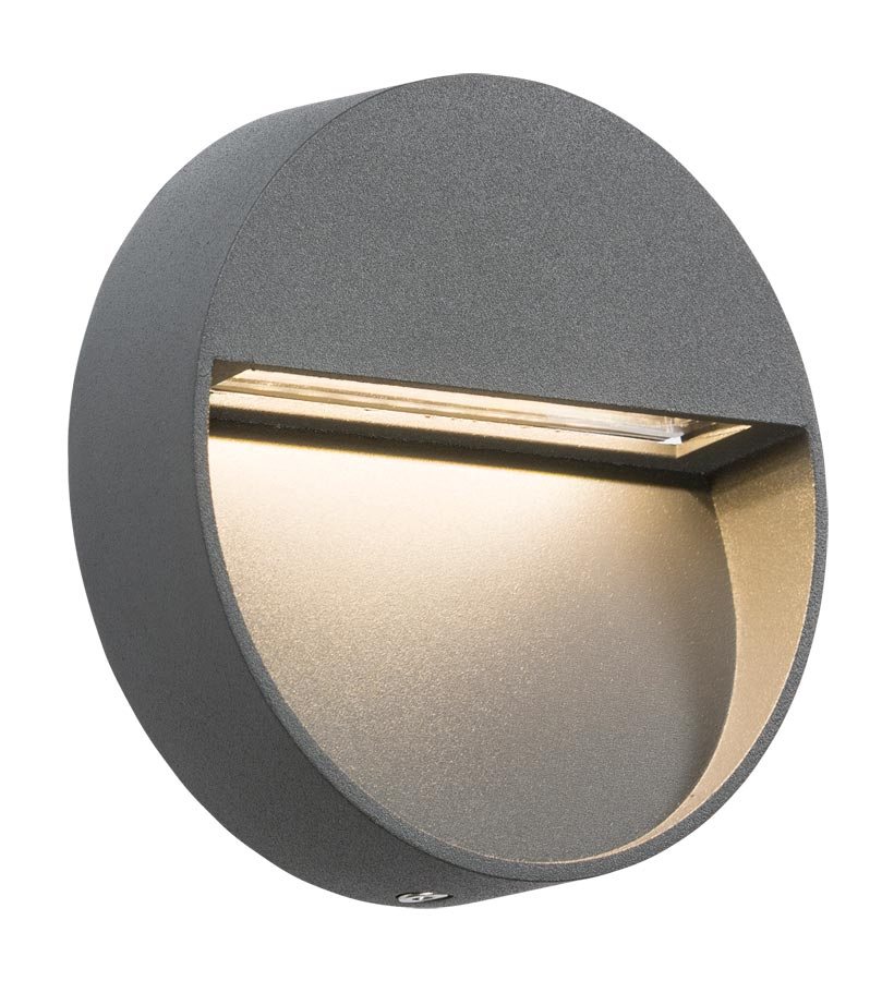 Small round 2w LED outdoor wall light guide in grey IP44