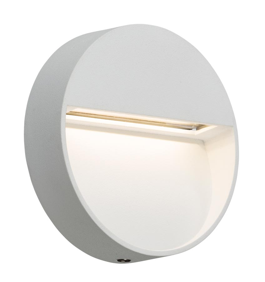 Small round 2w LED outdoor wall light guide in white IP44