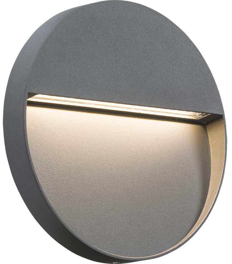 Round 4w LED outdoor wall light guide in grey IP44