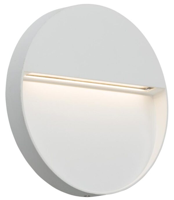 Round 4w LED Outdoor Wall Light Guide White IP44