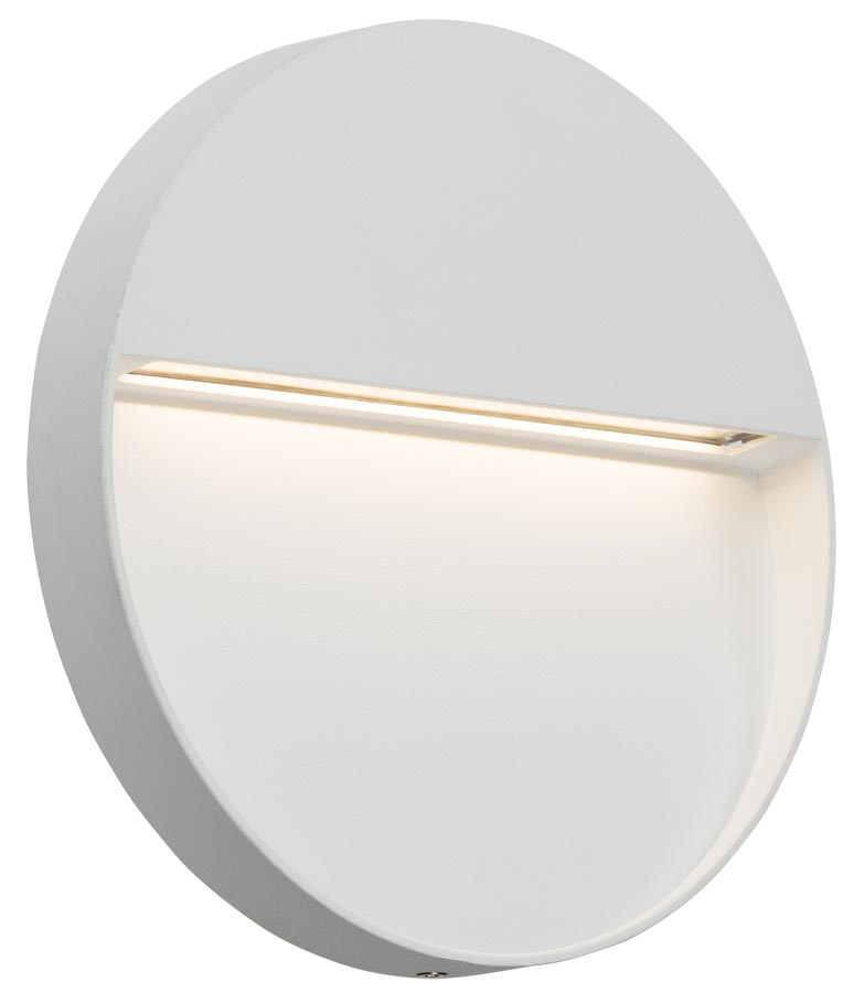 Round 4w LED outdoor wall light guide in white IP44