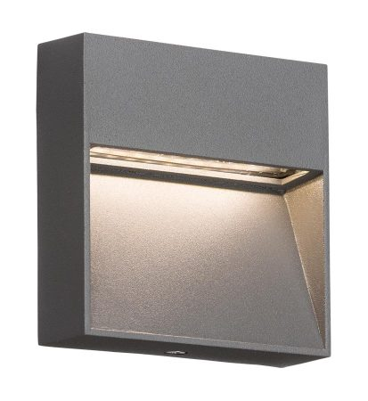 Small Square 2w LED Outdoor Wall Light Guide Grey IP44