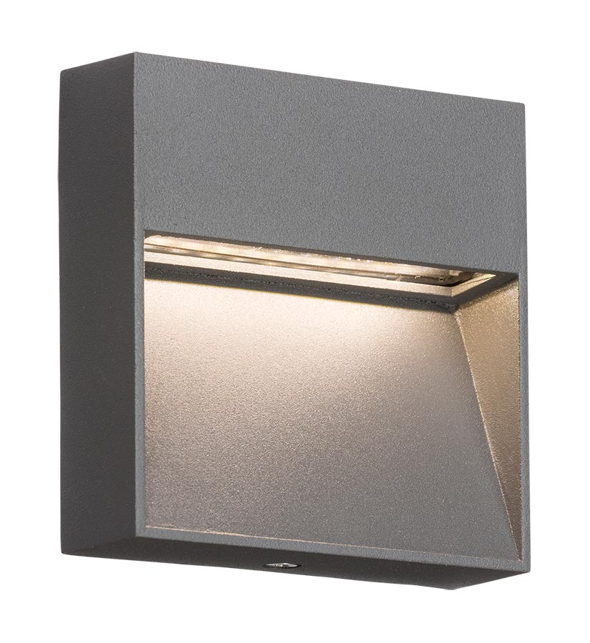 Small square 2w LED outdoor wall light guide in grey IP44
