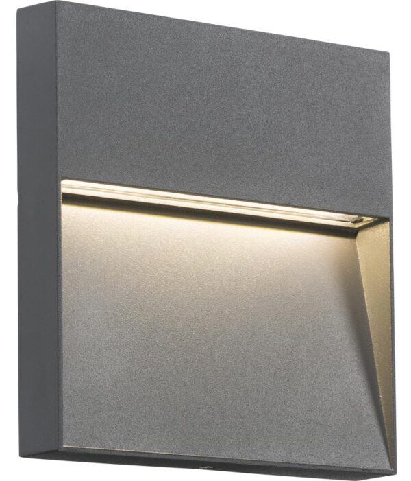 Square 4w LED Outdoor Wall Light Guide Grey IP44