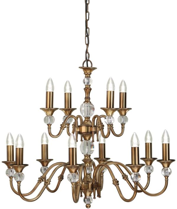 Polina Antique Brass Classic 2 Tier 12 Light Large Chandelier