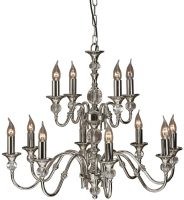 Polina Polished Nickel Classic 2 Tier 12 Light Large Chandelier