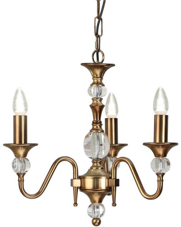 Polina Antique Brass 3 Light Classic Chandelier