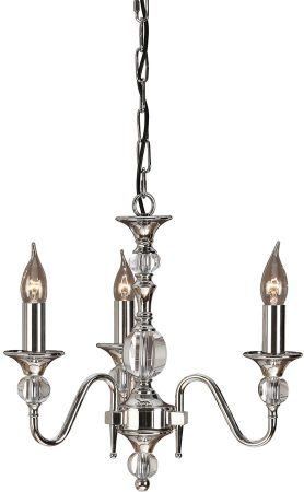 Polina Polished Nickel 3 Light Classic Chandelier