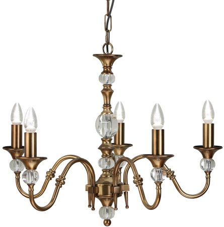 Polina Antique Brass 5 Light Classic Chandelier