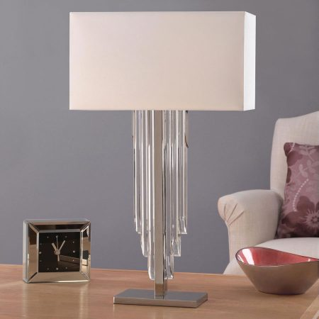 Crystal Cascade Art Deco Style Table Lamp With Shade