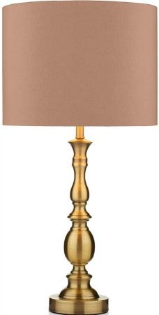Dar Madrid Taupe Shade Table Lamp Antique Brass
