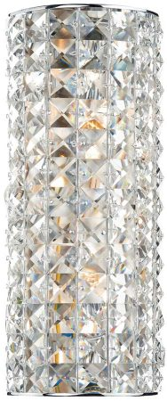 Dar Matrix 2 Light Crystal Wall Light Polished Chrome Pull Switch