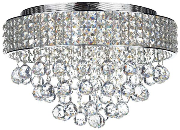 Dar Matrix Modern 5 Lamp Flush Crystal Light Chrome