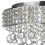 Dar Matrix Large 9 Light Flush Crystal Ceiling Light Polished Chrome