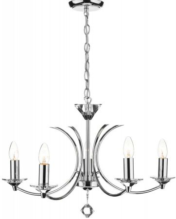 Dar Medusa Modern 5 Light Dual Mount Chandelier Chrome