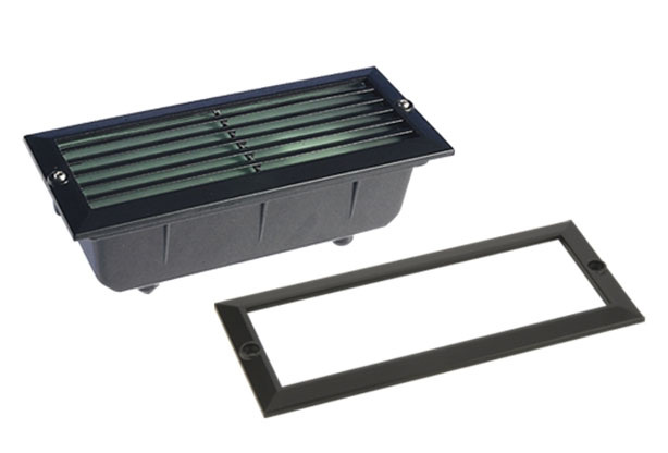 Black cast aluminium outdoor brick light with plain and louvred covers IP44