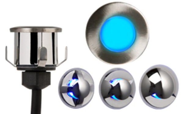 Decking or Bathroom Mains Blue LED Recessed Light