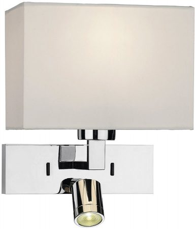 Dar Modena Chrome Switched Wall Light With LED Reading Lamp