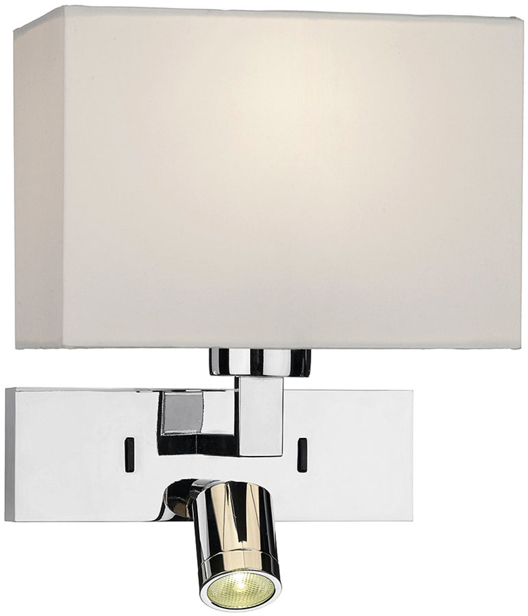 Dar Modena Chrome Switched Wall Light With LED Reading Lamp MOD7150L